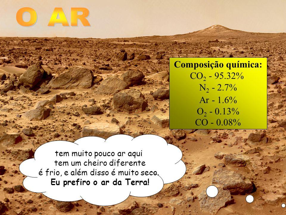 tem muito pouco ar aqui tem um cheiro diferente é frio, e além disso é muito seco. Eu prefiro o ar da Terra! Composição química: CO 2 - 95.32% N 2 - 2