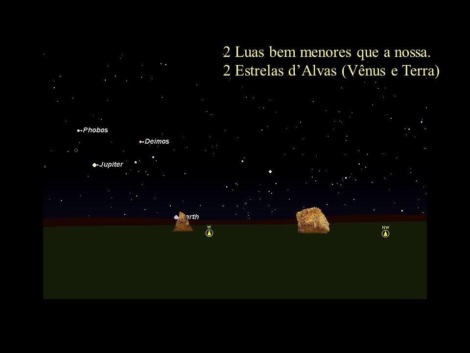 2 Luas bem menores que a nossa. 2 Estrelas dAlvas (Vênus e Terra)
