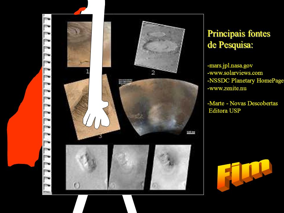 Principais fontes de Pesquisa: -mars.jpl.nasa.gov -www.solarviews.com -NSSDC Planetary HomePage -www.zenite.nu -Marte - Novas Descobertas Editora USP