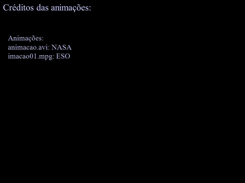 Animações: animacao.avi: NASA imacao01.mpg: ESO Créditos das animações: