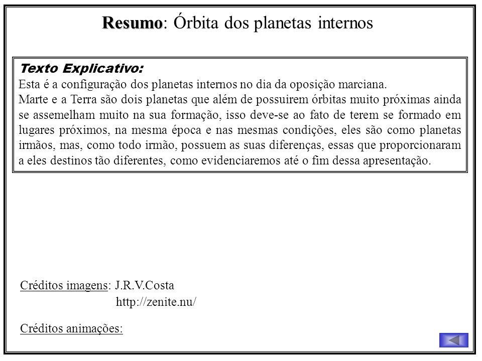 Resumo Resumo: Órbita dos planetas internos Texto Explicativo: Esta é a configuração dos planetas internos no dia da oposição marciana. Marte e a Terr