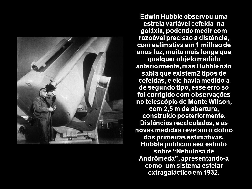 Edwin Hubble observou uma estrela variável cefeida na galáxia, podendo medir com razoável precisão a distância, com estimativa em 1 milhão de anos luz
