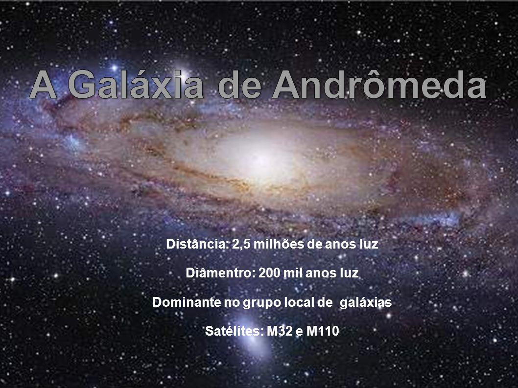 Distância: 2,5 milhões de anos luz Diâmentro: 200 mil anos luz Dominante no grupo local de galáxias Satélites: M32 e M110