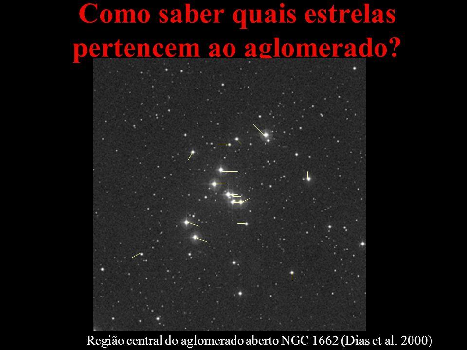 Como saber quais estrelas pertencem ao aglomerado? Região central do aglomerado aberto NGC 1662 (Dias et al. 2000)