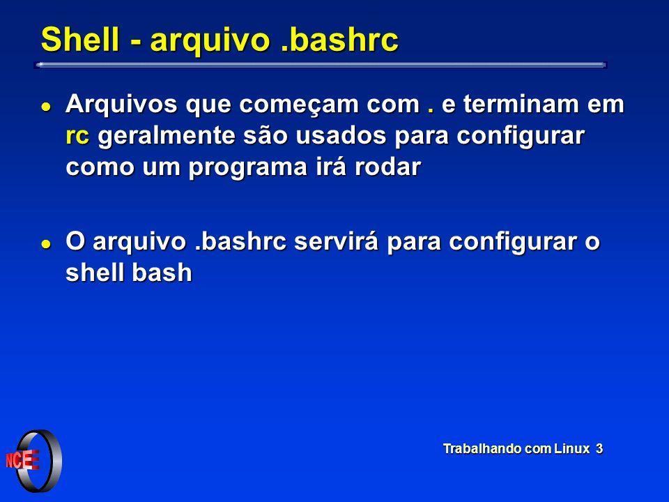 Trabalhando com Linux 3 Shell - arquivo.bashrc l Arquivos que começam com. e terminam em rc geralmente são usados para configurar como um programa irá