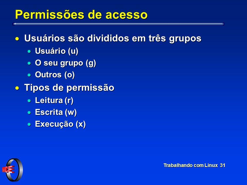 Trabalhando com Linux 31 Permissões de acesso Usuários são divididos em três grupos Usuários são divididos em três grupos Usuário (u) Usuário (u) O se