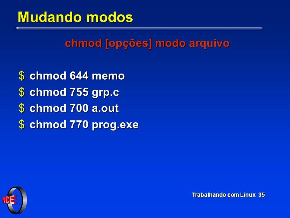Trabalhando com Linux 35 Mudando modos chmod [opções] modo arquivo $chmod 644 memo $chmod 755 grp.c $chmod 700 a.out $chmod 770 prog.exe