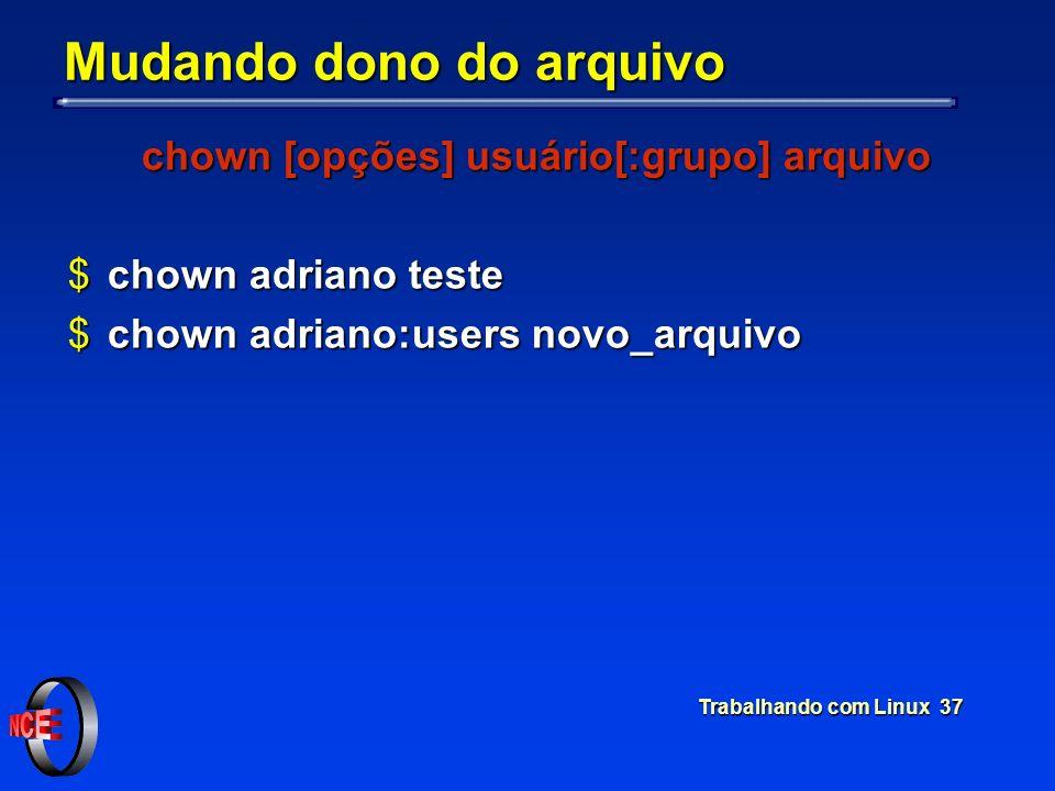 Trabalhando com Linux 37 Mudando dono do arquivo chown [opções] usuário[:grupo] arquivo $chown adriano teste $chown adriano:users novo_arquivo