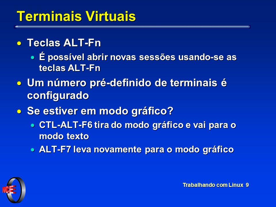 Trabalhando com Linux 9 Terminais Virtuais Teclas ALT-Fn Teclas ALT-Fn É possível abrir novas sessões usando-se as teclas ALT-Fn É possível abrir nova