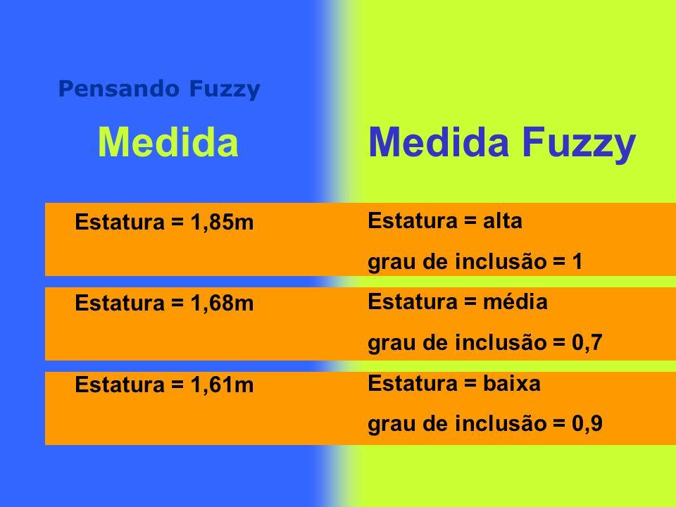 Pensando Fuzzy MedidaMedida Fuzzy Estatura = 1,85m Estatura = 1,68m Estatura = 1,61m Estatura = alta grau de inclusão = 1 Estatura = média grau de inclusão = 0,7 Estatura = baixa grau de inclusão = 0,9