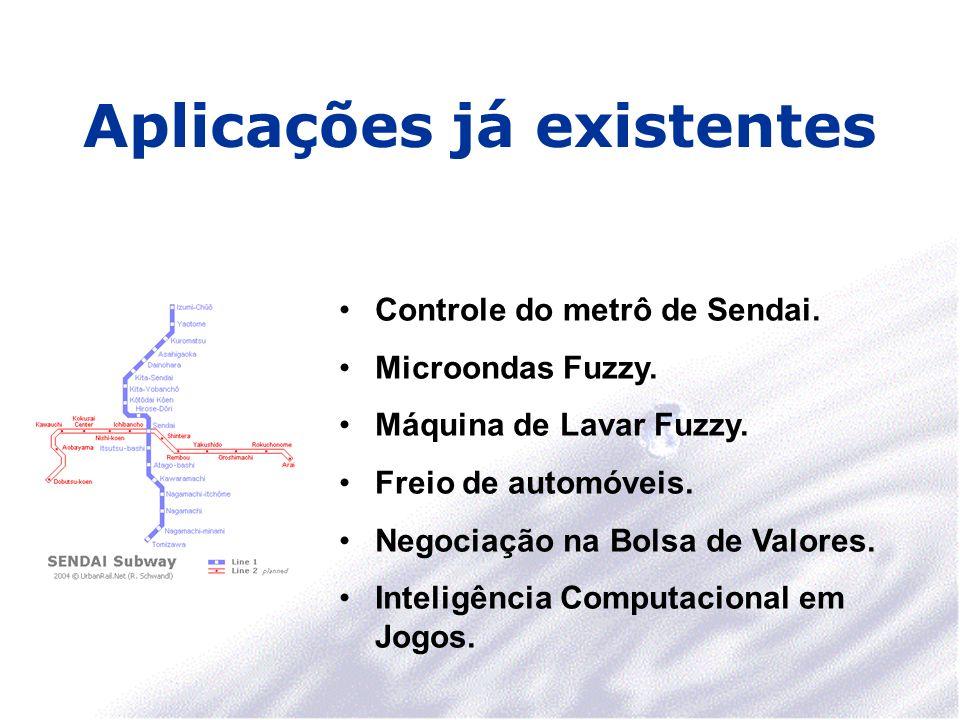 Aplicações já existentes Controle do metrô de Sendai. Microondas Fuzzy. Máquina de Lavar Fuzzy. Freio de automóveis. Negociação na Bolsa de Valores. I