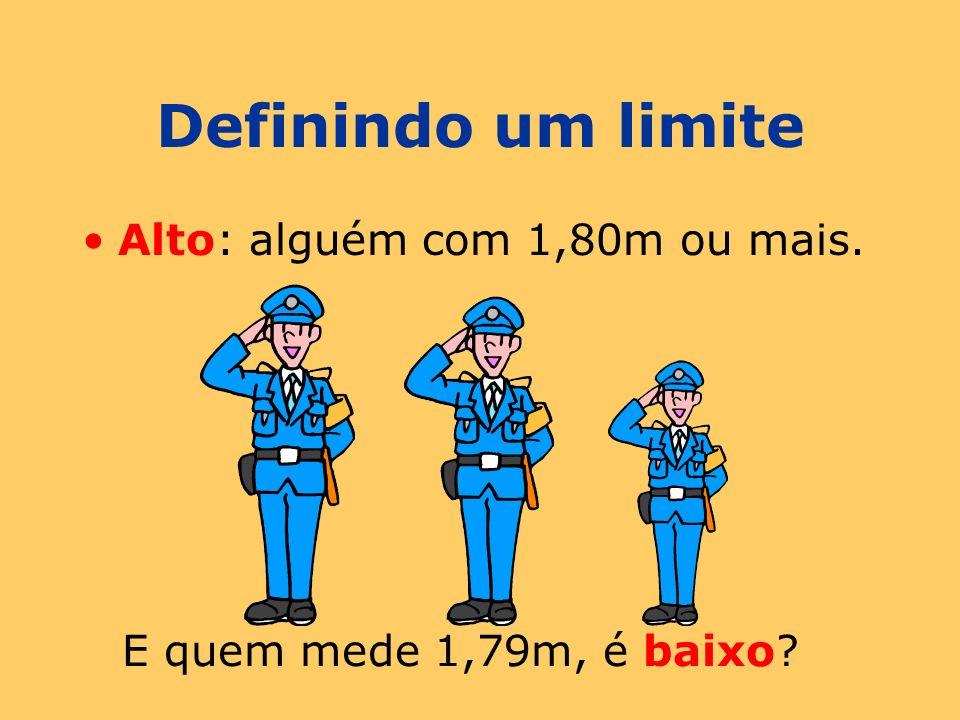 Definindo um limite Alto: alguém com 1,80m ou mais. E quem mede 1,79m, é baixo?
