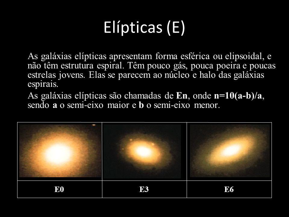 Elípticas (E) As galáxias elípticas apresentam forma esférica ou elipsoidal, e não têm estrutura espiral. Têm pouco gás, pouca poeira e poucas estrela