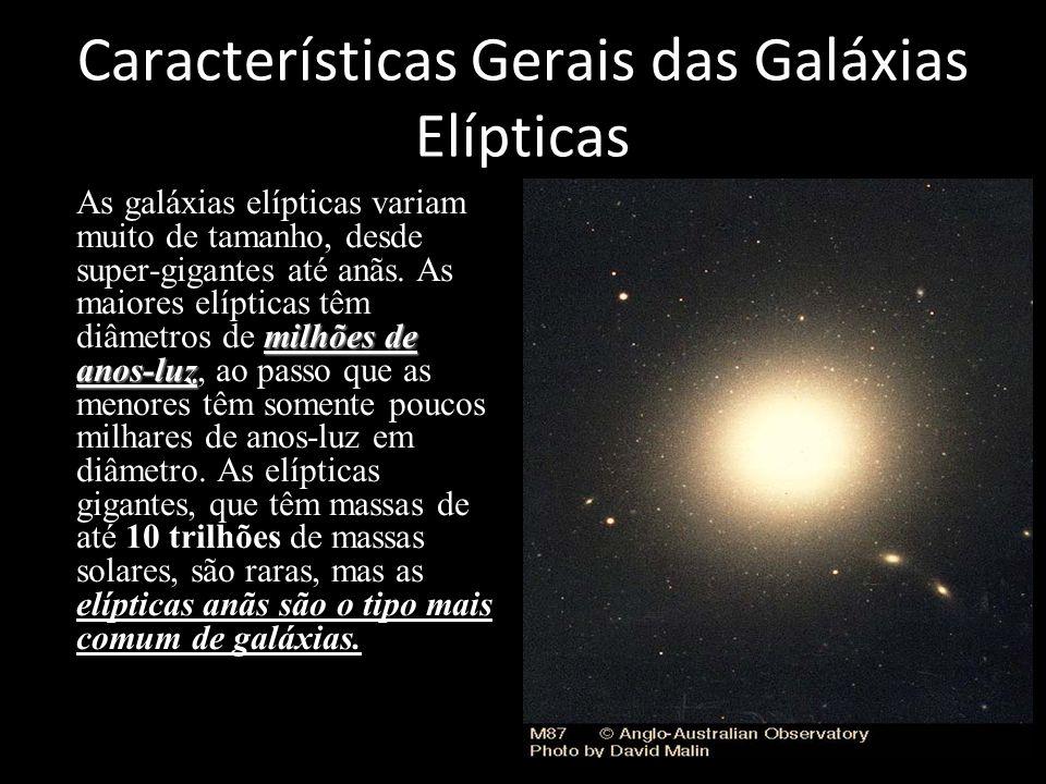 Características Gerais das Galáxias Elípticas milhões de anos-luzAs galáxias elípticas variam muito de tamanho, desde super-gigantes até anãs. As maio