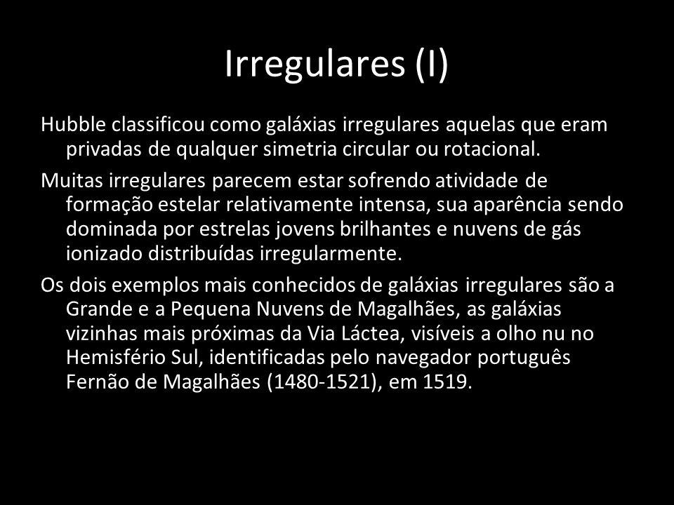 Irregulares (I) Hubble classificou como galáxias irregulares aquelas que eram privadas de qualquer simetria circular ou rotacional. Muitas irregulares