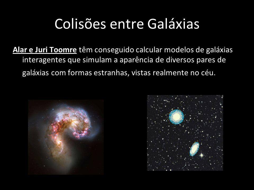 Colisões entre Galáxias Alar e Juri Toomre têm conseguido calcular modelos de galáxias interagentes que simulam a aparência de diversos pares de galáx