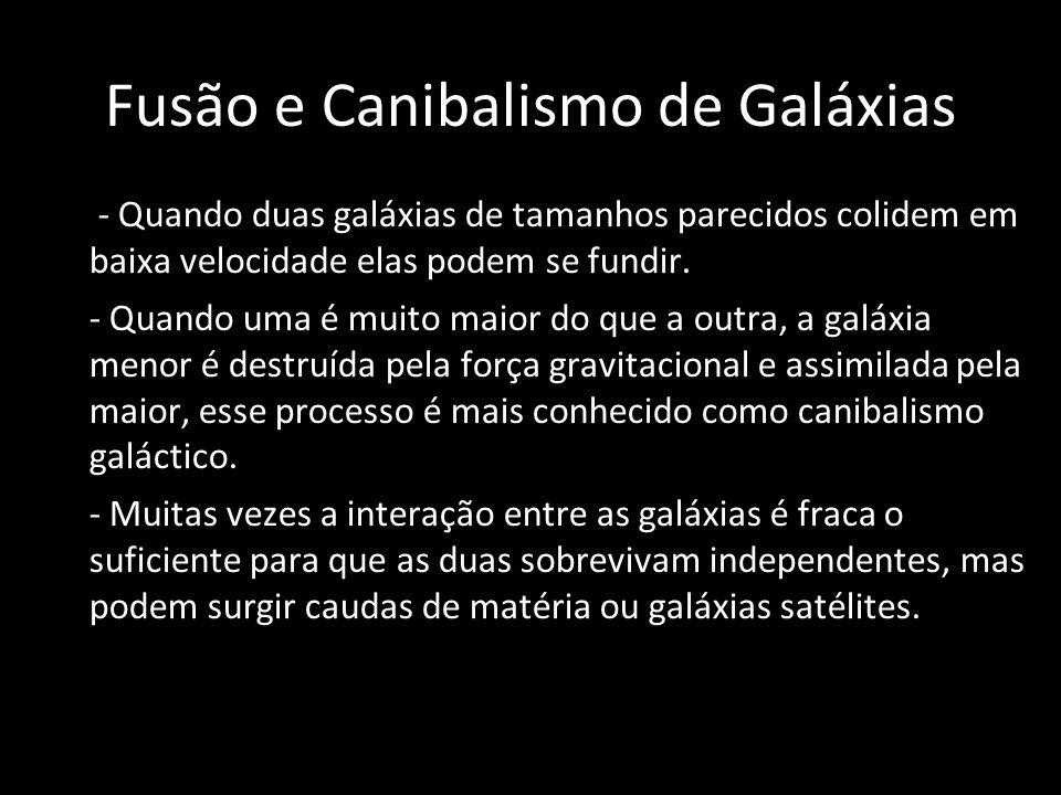 Fusão e Canibalismo de Galáxias - Quando duas galáxias de tamanhos parecidos colidem em baixa velocidade elas podem se fundir. - Quando uma é muito ma