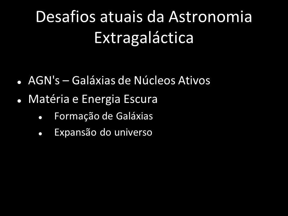 Desafios atuais da Astronomia Extragaláctica AGN's – Galáxias de Núcleos Ativos Matéria e Energia Escura Formação de Galáxias Expansão do universo