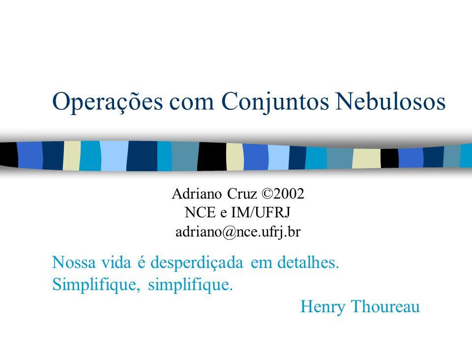 @2001 Adriano Cruz NCE e IM - UFRJOperações com Conjuntos Nebulosos 12 Operação de União n Qualquer função que seja empregada para representar união deve respeitar as Normas S n Normas S mapeiam [0,1]x[0,1] [0,1] e devem satisfazer os cinco axiomas mostrados a seguir n Sejam A (x), B (x), C (x) e D (x) quatro conjuntos nebulosos.