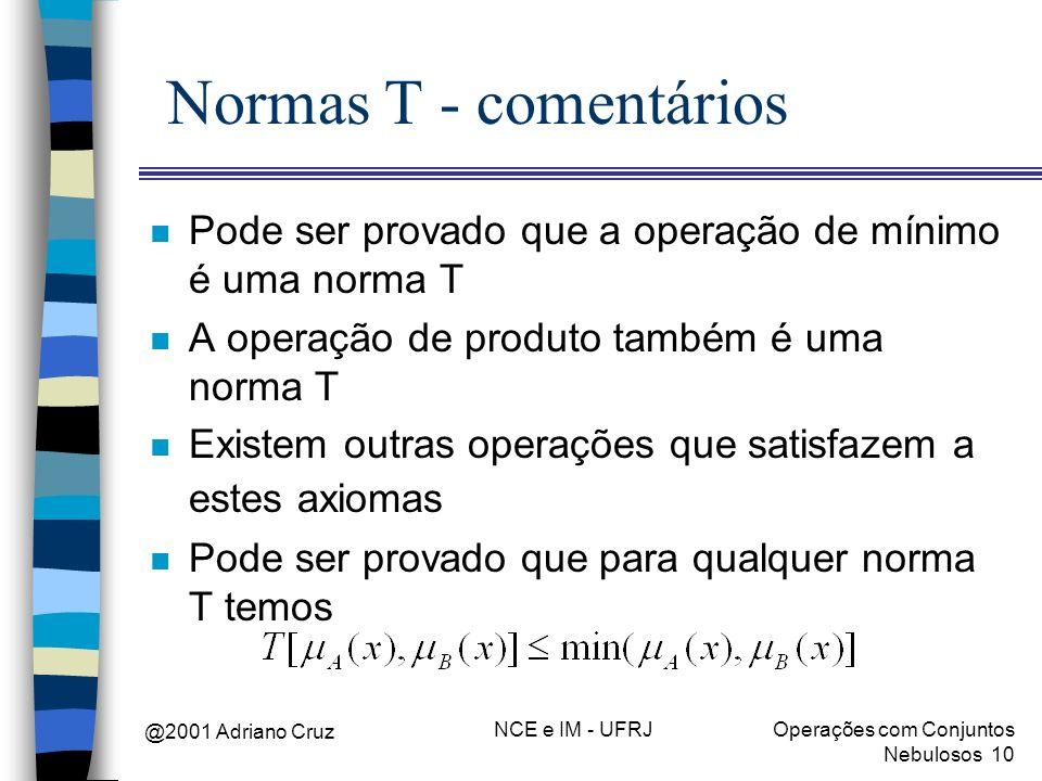 @2001 Adriano Cruz NCE e IM - UFRJOperações com Conjuntos Nebulosos 10 Normas T - comentários n Pode ser provado que a operação de mínimo é uma norma
