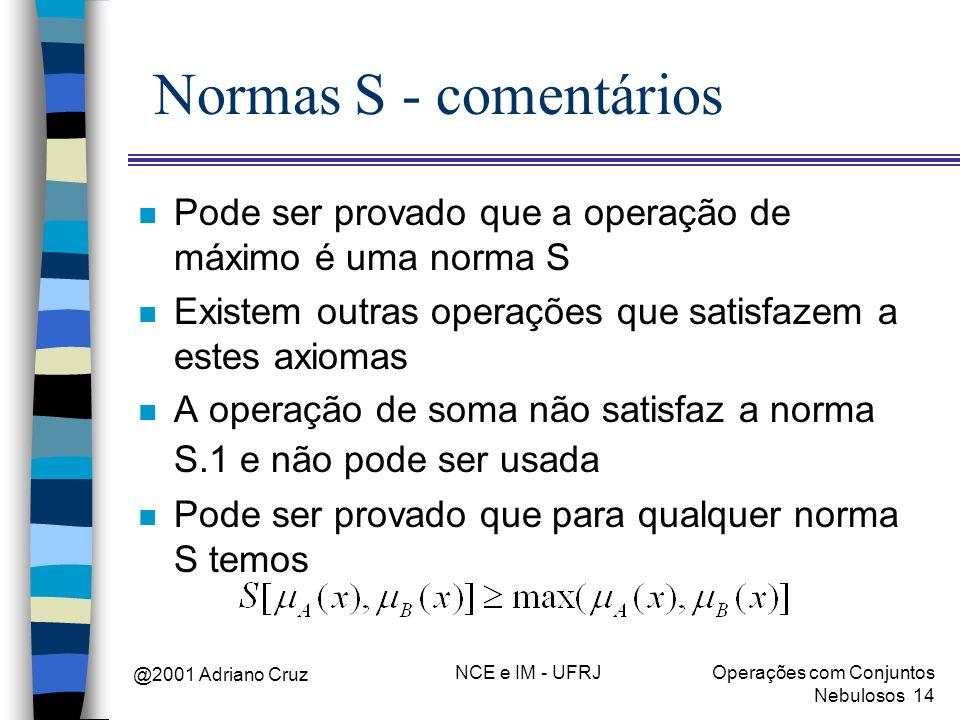 @2001 Adriano Cruz NCE e IM - UFRJOperações com Conjuntos Nebulosos 14 Normas S - comentários n Pode ser provado que a operação de máximo é uma norma