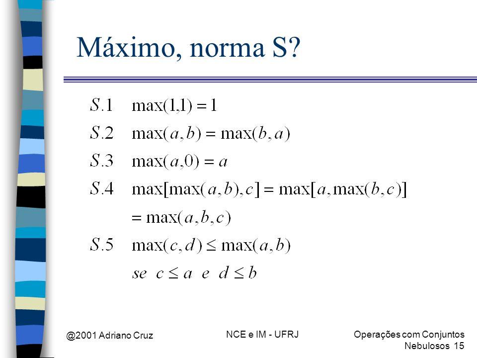 @2001 Adriano Cruz NCE e IM - UFRJOperações com Conjuntos Nebulosos 15 Máximo, norma S?