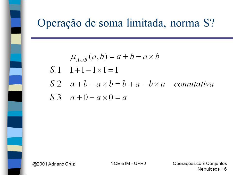 @2001 Adriano Cruz NCE e IM - UFRJOperações com Conjuntos Nebulosos 16 Operação de soma limitada, norma S?
