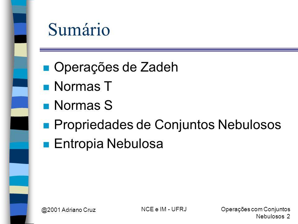 @2001 Adriano Cruz NCE e IM - UFRJOperações com Conjuntos Nebulosos 2 Sumário n Operações de Zadeh n Normas T n Normas S n Propriedades de Conjuntos N