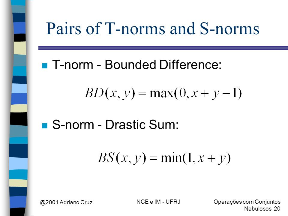 @2001 Adriano Cruz NCE e IM - UFRJOperações com Conjuntos Nebulosos 20 Pairs of T-norms and S-norms n T-norm - Bounded Difference: n S-norm - Drastic Sum: