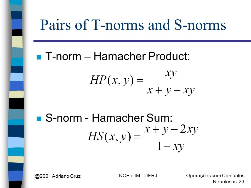 @2001 Adriano Cruz NCE e IM - UFRJOperações com Conjuntos Nebulosos 23 Pairs of T-norms and S-norms n T-norm – Hamacher Product: n S-norm - Hamacher S