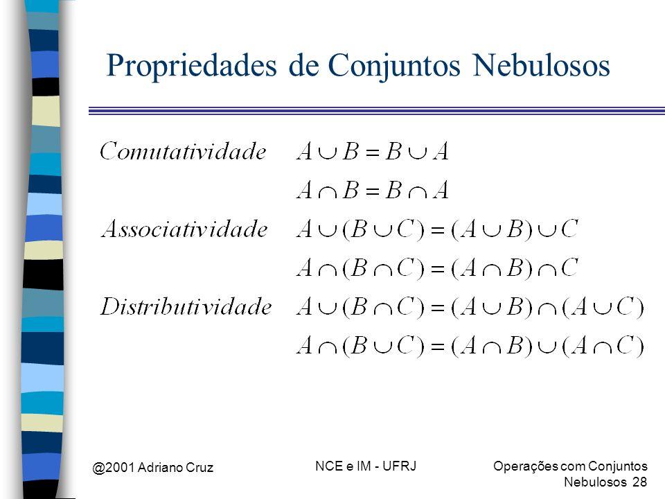 @2001 Adriano Cruz NCE e IM - UFRJOperações com Conjuntos Nebulosos 28 Propriedades de Conjuntos Nebulosos