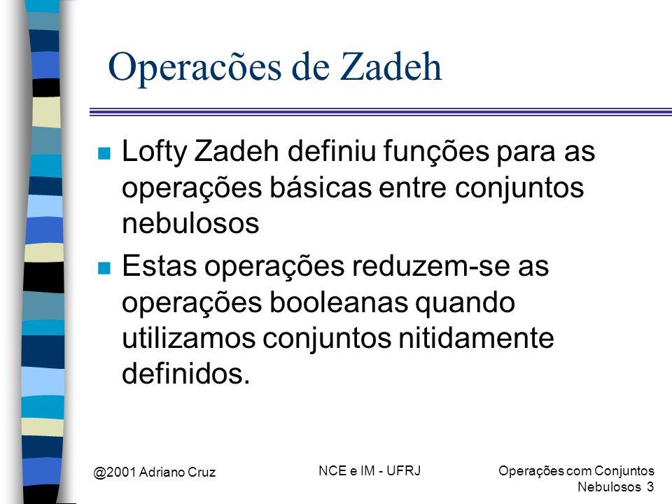 @2001 Adriano Cruz NCE e IM - UFRJOperações com Conjuntos Nebulosos 3 Operacões de Zadeh n Lofty Zadeh definiu funções para as operações básicas entre