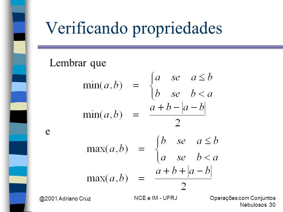 @2001 Adriano Cruz NCE e IM - UFRJOperações com Conjuntos Nebulosos 30 Verificando propriedades Lembrar que e