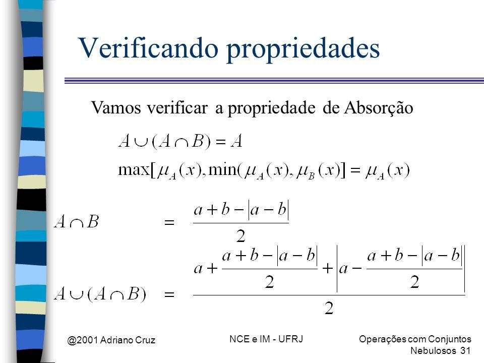 @2001 Adriano Cruz NCE e IM - UFRJOperações com Conjuntos Nebulosos 31 Verificando propriedades Vamos verificar a propriedade de Absorção
