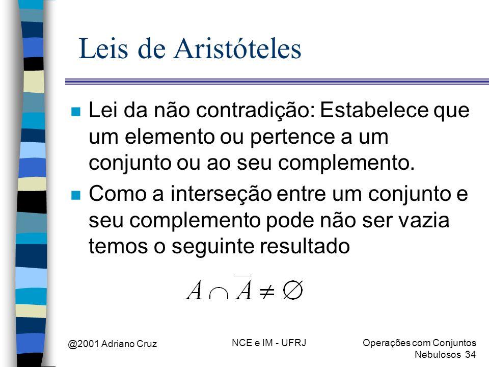 @2001 Adriano Cruz NCE e IM - UFRJOperações com Conjuntos Nebulosos 34 Leis de Aristóteles n Lei da não contradição: Estabelece que um elemento ou per