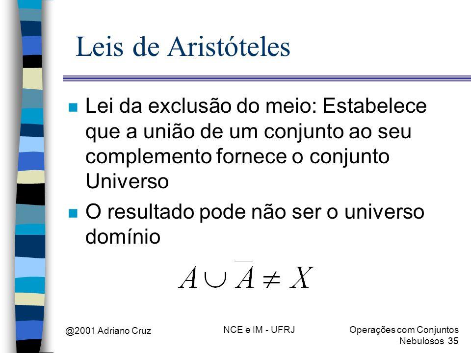 @2001 Adriano Cruz NCE e IM - UFRJOperações com Conjuntos Nebulosos 35 Leis de Aristóteles n Lei da exclusão do meio: Estabelece que a união de um con