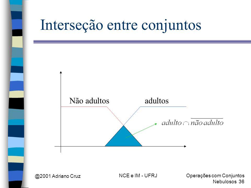 @2001 Adriano Cruz NCE e IM - UFRJOperações com Conjuntos Nebulosos 36 Interseção entre conjuntos adultosNão adultos