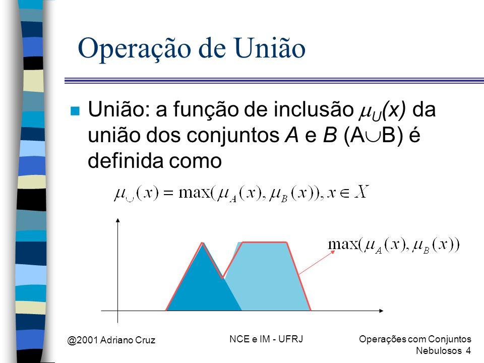 @2001 Adriano Cruz NCE e IM - UFRJOperações com Conjuntos Nebulosos 4 Operação de União União: a função de inclusão U (x) da união dos conjuntos A e B