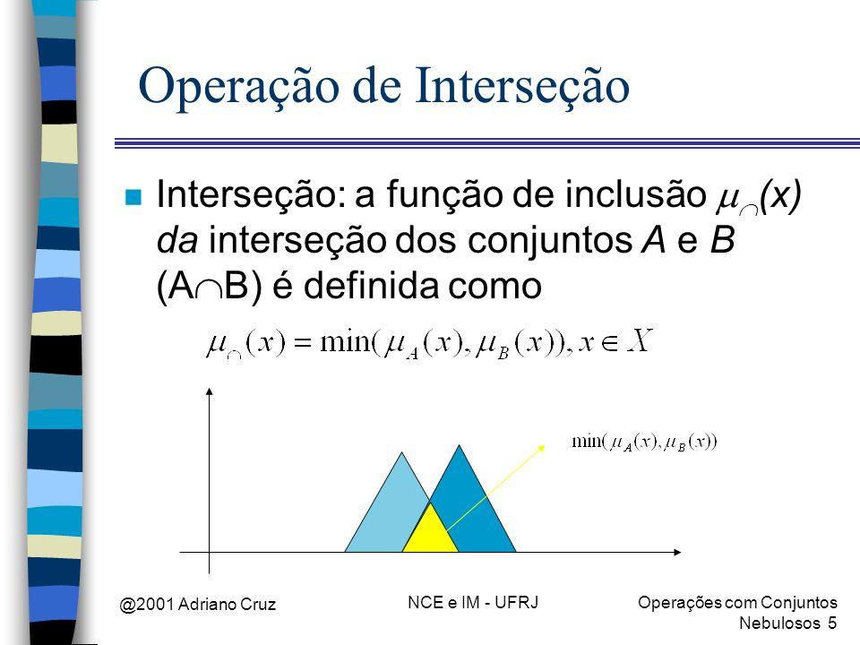 @2001 Adriano Cruz NCE e IM - UFRJOperações com Conjuntos Nebulosos 5 Operação de Interseção Interseção: a função de inclusão (x) da interseção dos co