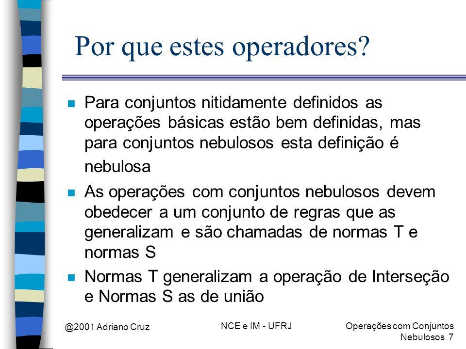 @2001 Adriano Cruz NCE e IM - UFRJOperações com Conjuntos Nebulosos 8 Operação de Interseção n Qualquer função que seja empregada para representar interseção deve respeitar as Normas T n Normas T mapeiam [0,1]x[0,1] [0,1] e devem satisfazer os cinco axiomas mostrados a seguir n Sejam A (x), B (x), C (x) e D (x) quatro funções.