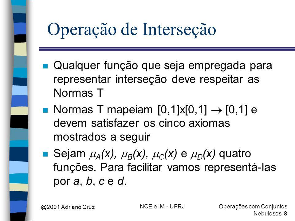 @2001 Adriano Cruz NCE e IM - UFRJOperações com Conjuntos Nebulosos 8 Operação de Interseção n Qualquer função que seja empregada para representar int