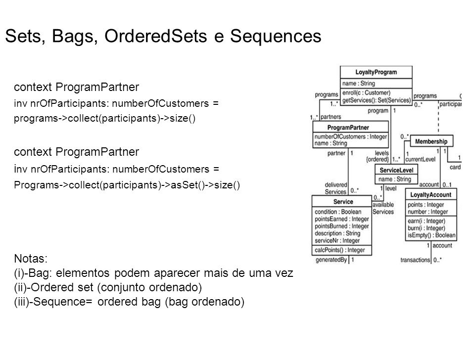 Sets, Bags, OrderedSets e Sequences context ProgramPartner inv nrOfParticipants: numberOfCustomers = programs->collect(participants)->size() context P