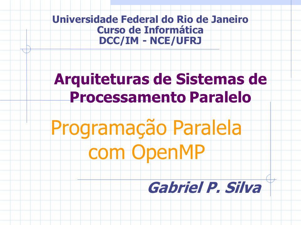 Arquiteturas de Sistemas de Processamento Paralelo Gabriel P. Silva Universidade Federal do Rio de Janeiro Curso de Informática DCC/IM - NCE/UFRJ Prog