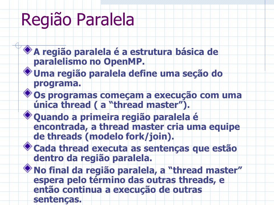 Região Paralela A região paralela é a estrutura básica de paralelismo no OpenMP. Uma região paralela define uma seção do programa. Os programas começa