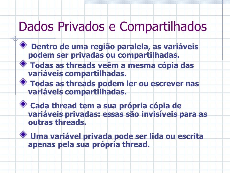 Dados Privados e Compartilhados Dentro de uma região paralela, as variáveis podem ser privadas ou compartilhadas. Todas as threads veêm a mesma cópia