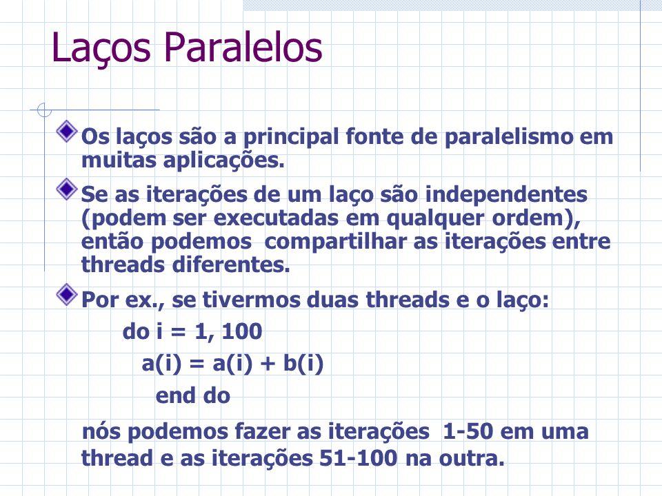 Laços Paralelos Os laços são a principal fonte de paralelismo em muitas aplicações. Se as iterações de um laço são independentes (podem ser executadas