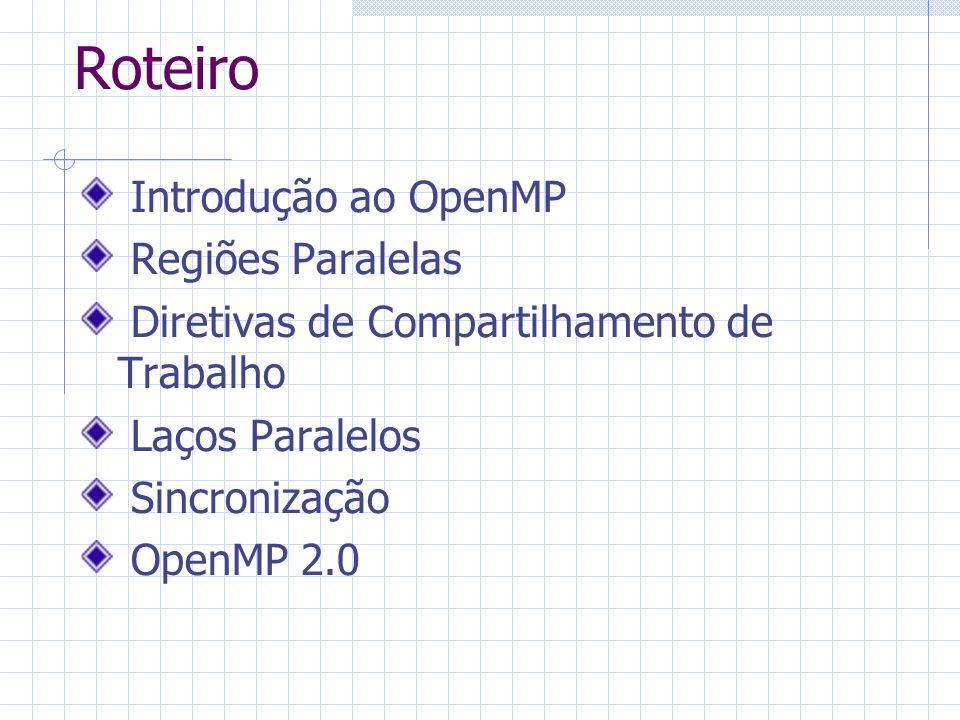 Roteiro Introdução ao OpenMP Regiões Paralelas Diretivas de Compartilhamento de Trabalho Laços Paralelos Sincronização OpenMP 2.0