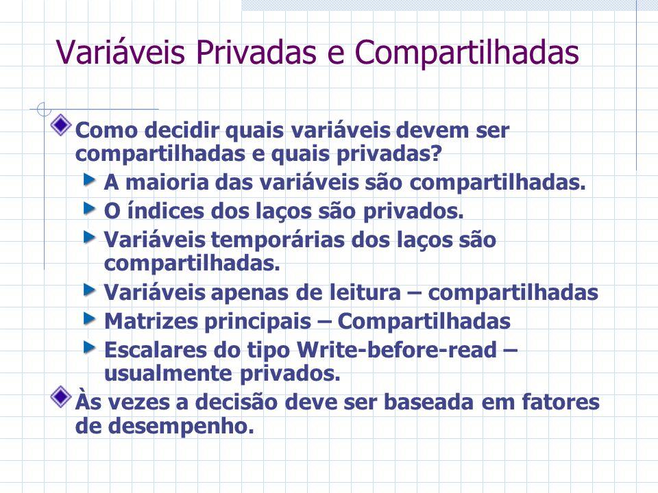 Variáveis Privadas e Compartilhadas Como decidir quais variáveis devem ser compartilhadas e quais privadas? A maioria das variáveis são compartilhadas