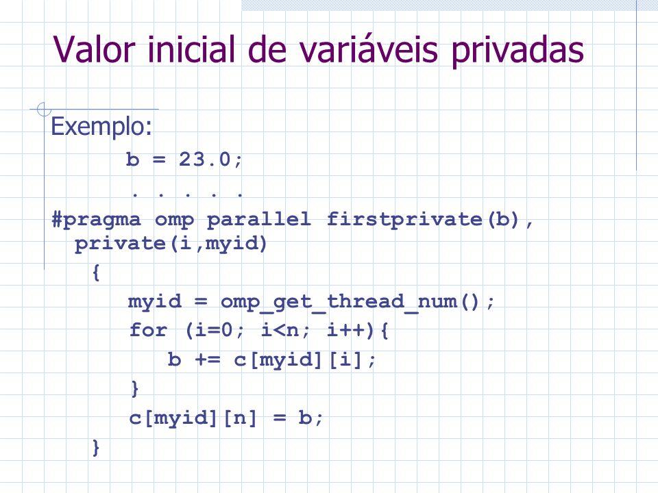 Valor inicial de variáveis privadas Exemplo: b = 23.0;.....