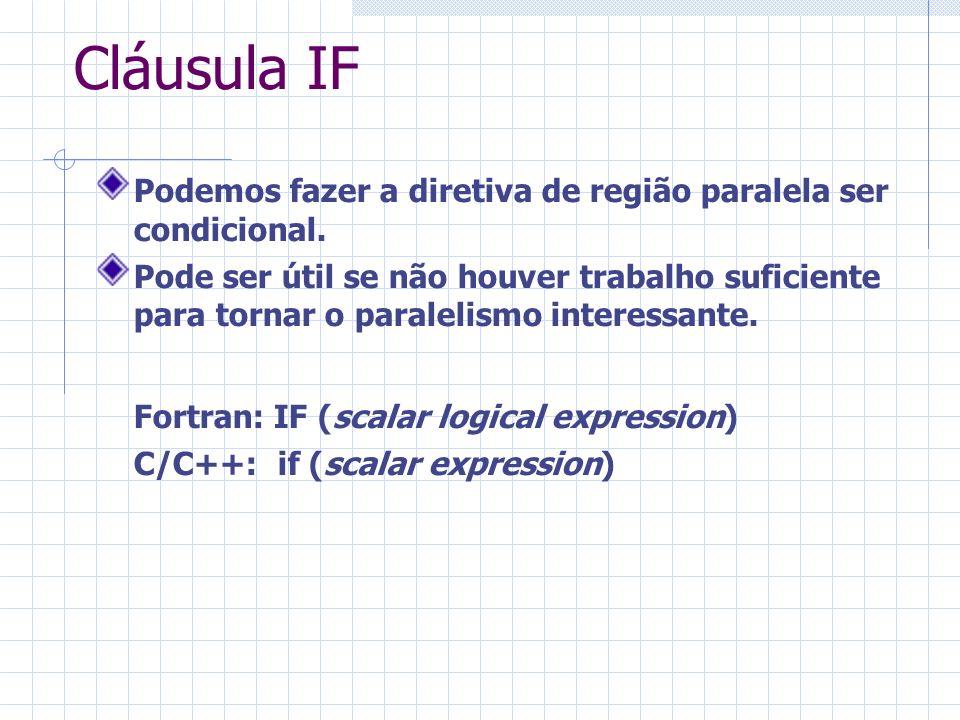 Cláusula IF Podemos fazer a diretiva de região paralela ser condicional. Pode ser útil se não houver trabalho suficiente para tornar o paralelismo int